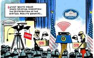 Jack Ohman cartoon: Virtual reality at the White House press briefing...