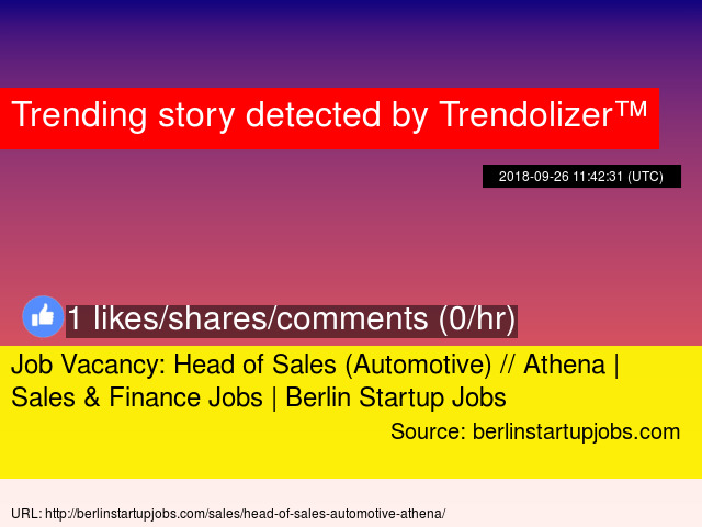 job vacancy head of sales automotive athena sales finance jobs berlin startup jobs stats