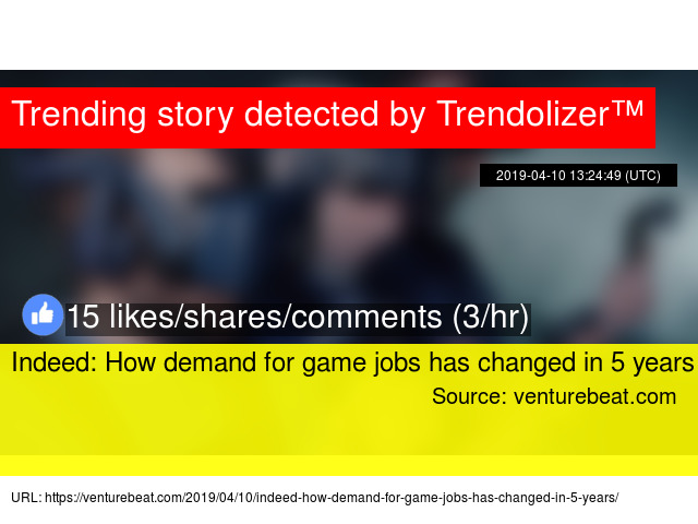 Indeed: How demand for game jobs has changed in 5 years