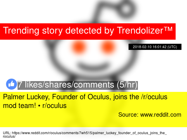 Palmer Luckey, Founder of Oculus, joins the /r/oculus mod